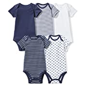 Moon and Back Baby Set of 5 Organic Short-Sleeve Bodysuits, Navy Sea, 6-9 Months