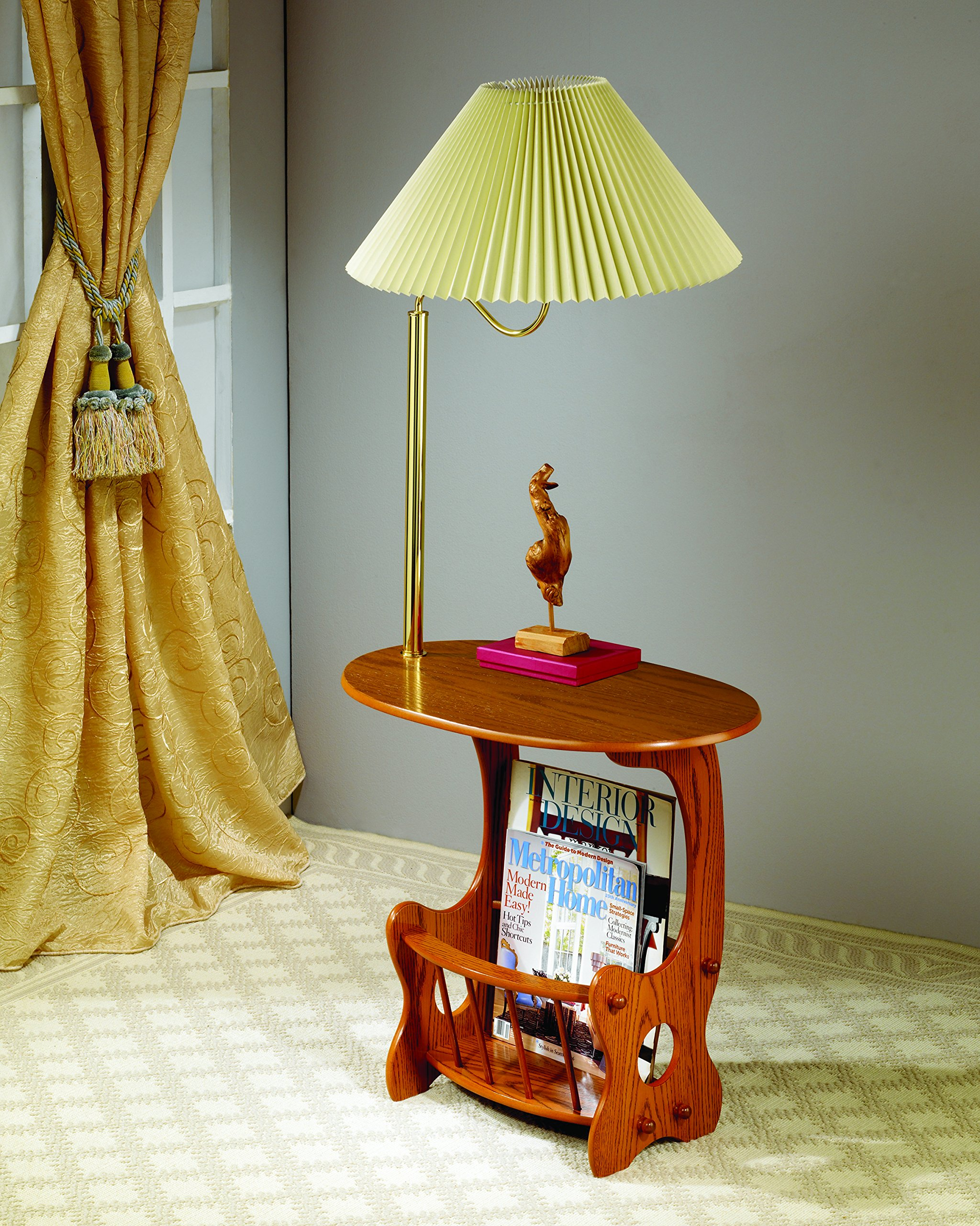 Coaster Traditional Warm Brown Magazine Storage Lamp Table
