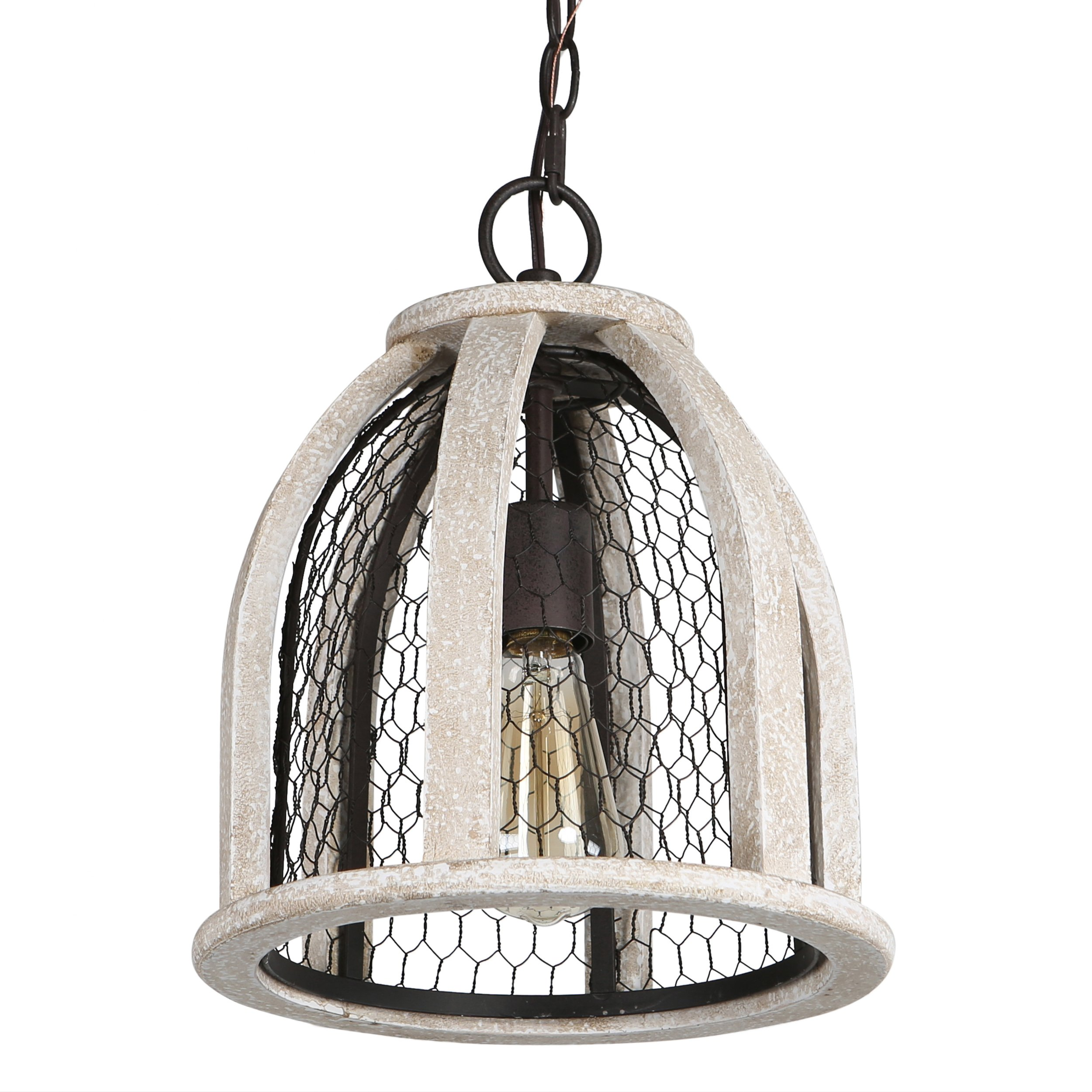 Brinley Home 12 inch Hard Wired Wood Iron Pendant Lamp