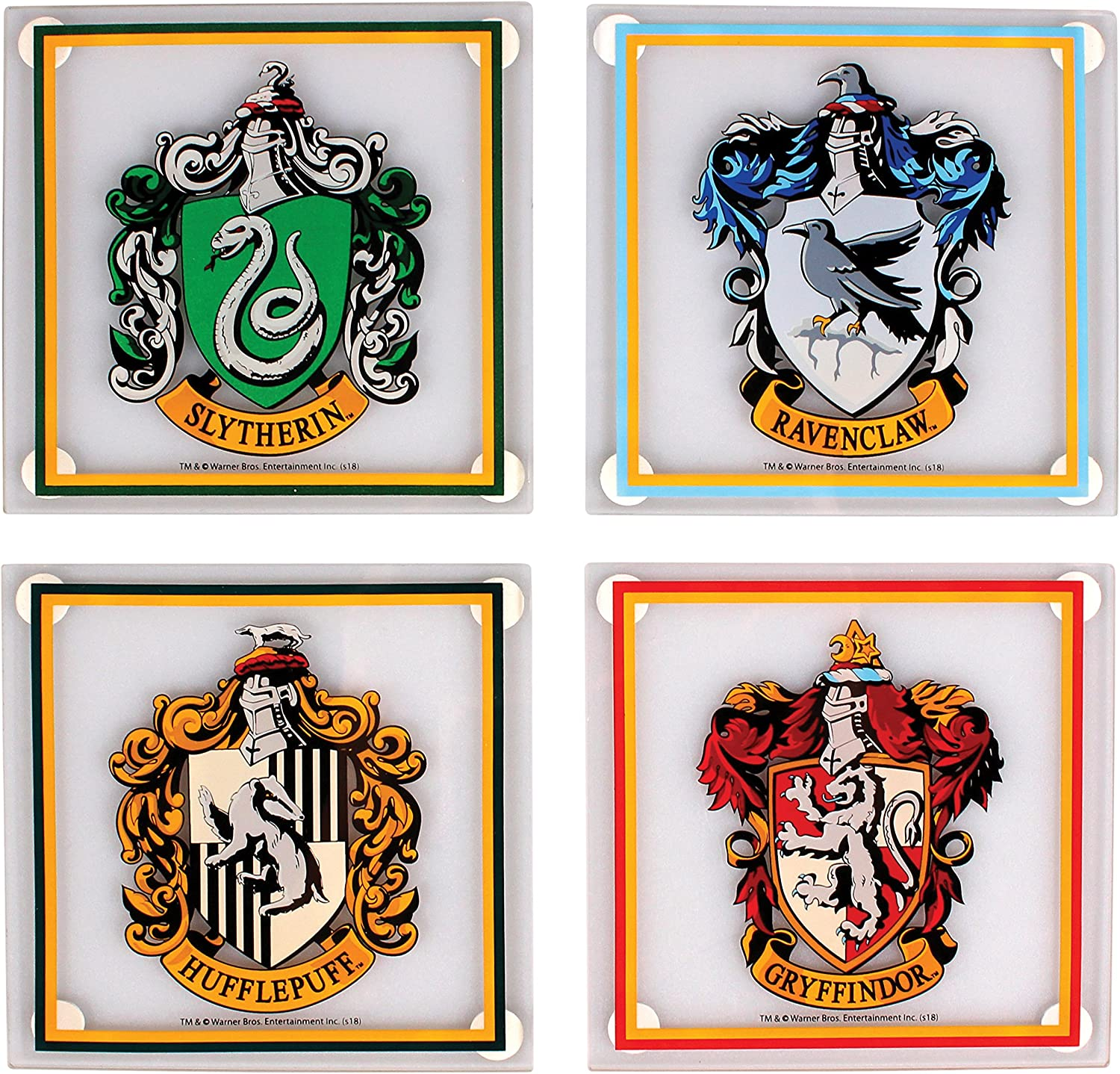 Harry Potter Glass Coaster 4-Pack All Houses Half Moon Bicchieri ...