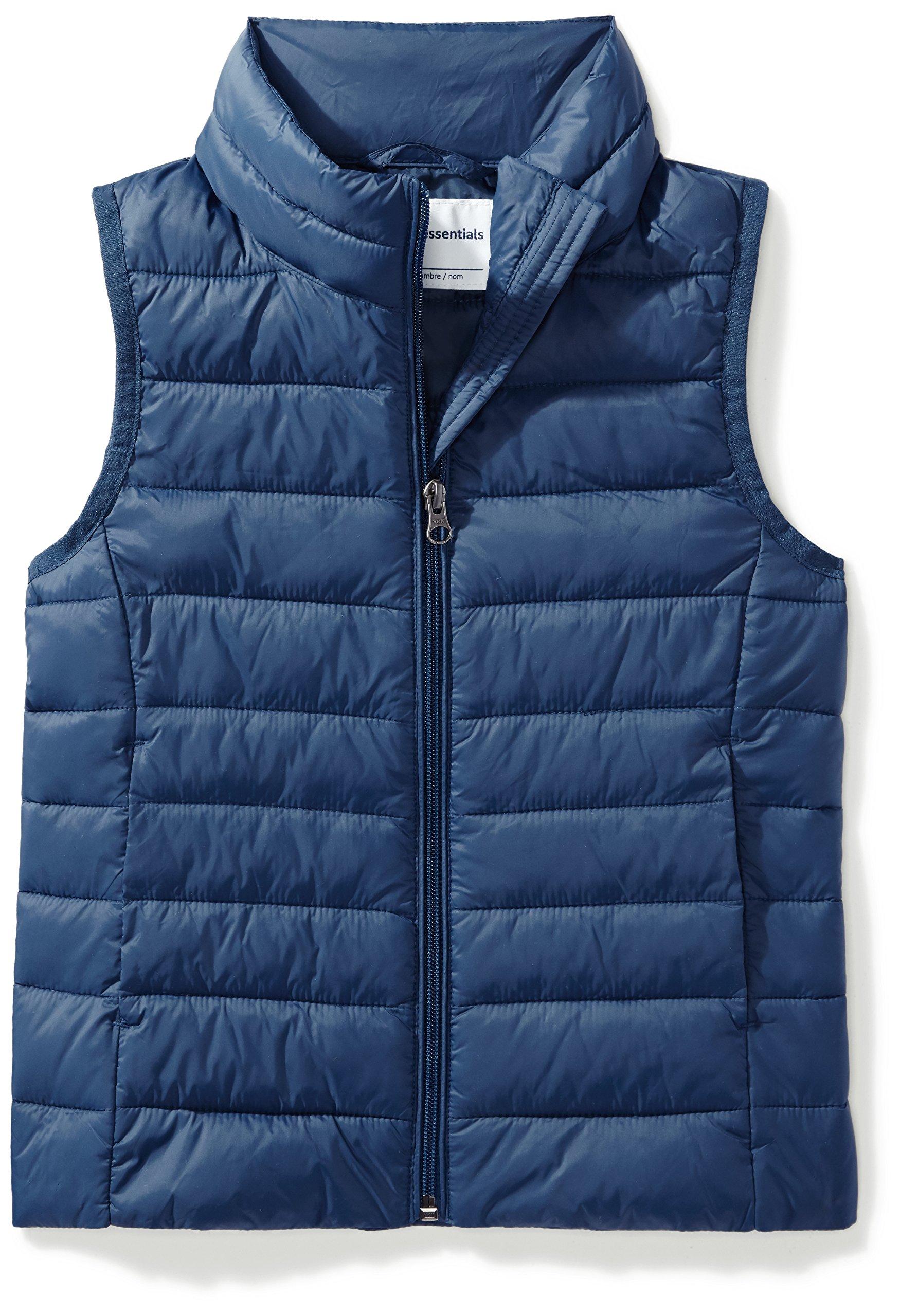 Amazon Essentials Girls' Lightweight Water-Resistant Packable Puffer Vest, Navy, Medium