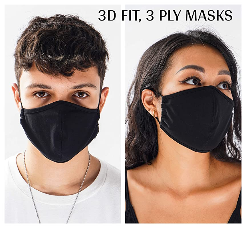 PRIDE rainbow 3-D triple layer face mask bamboo cotton adjustable FREE CASE BOX