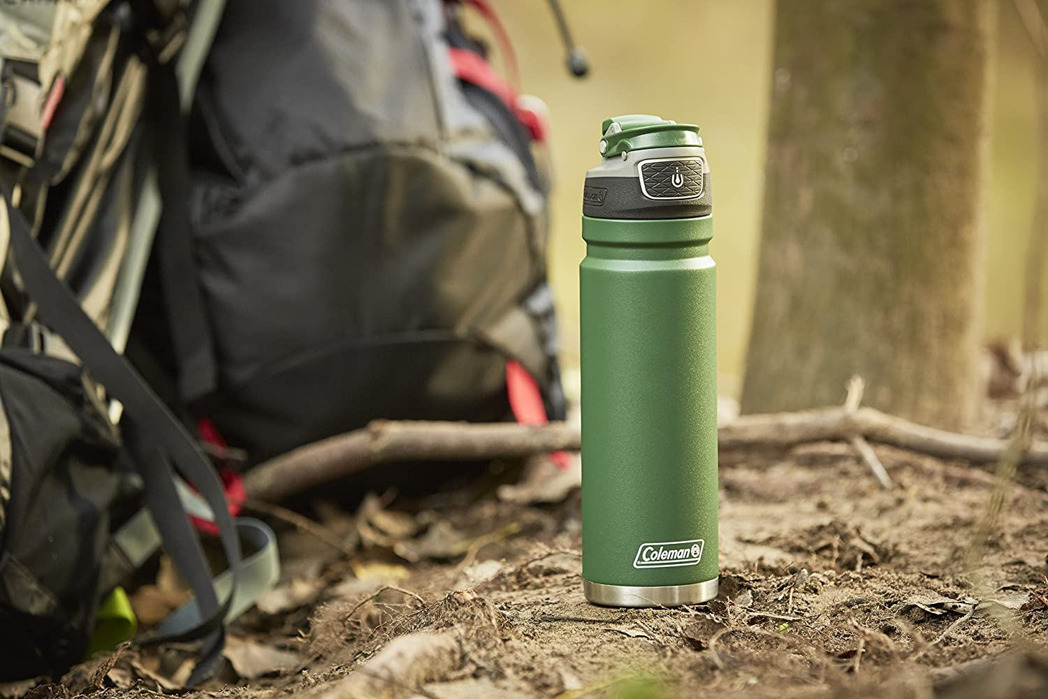 Coleman FreeFlow Autoseal Water Bottle 24oz Black Stainless Steel Insulated