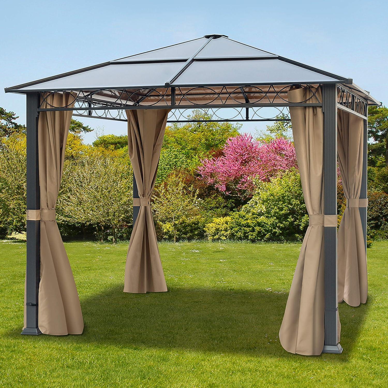 TOOLPORT Cenador de jardín 3x3 m Impermeable ALU Deluxe con 4 ...