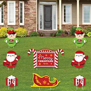 product image for Big Dot of Happiness Jolly Santa Claus - Merry Christmas Yard Sign and Outdoor Lawn Decorations - Christmas Yard Signs - Set of 8