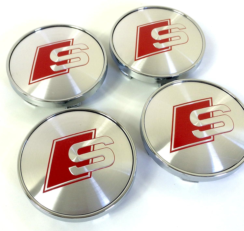 Lot de quatre roues en alliage Hub Centre Bouchons S Line Rouge Logo Gris Argent Housses Badge 60mm pour Audi A3A4A5A6A7A8S4S5S6/S8RS4Q3Q5Q7T