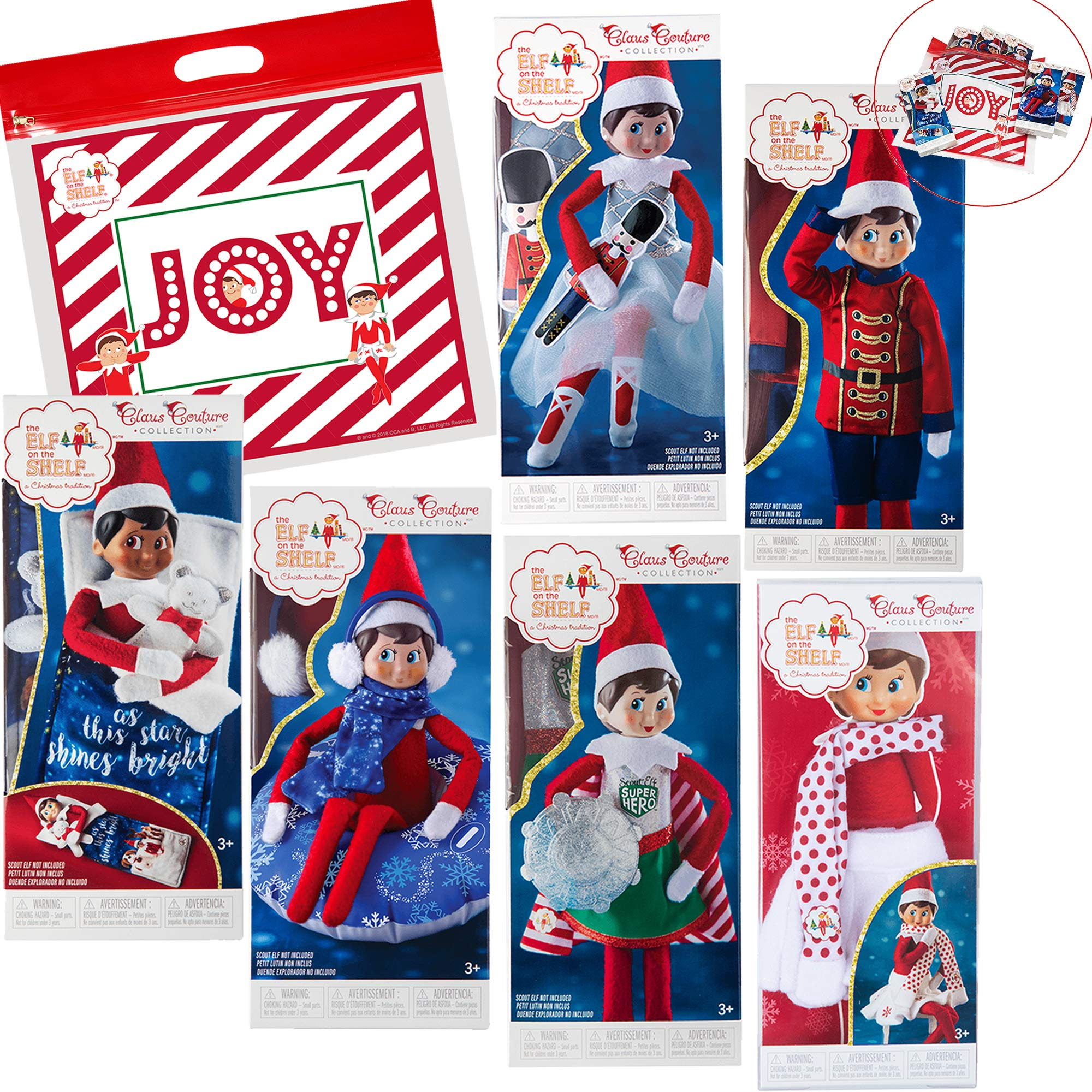 Elf on The Shelf Claus Couture All New 2018 Ultimate Scout Elf Accessories Pack, Set of 6 with Exclusive Joy Travel Bag by The Elf on the Shelf