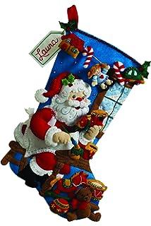 Amazon bucilla 18 inch christmas stocking felt applique kit bucilla 18 inch christmas stocking felt applique kit 86165 the workshop solutioingenieria Images