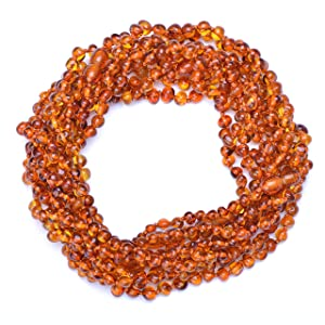 Baltic Amber Teething Necklaces Wholesale - 10 Amber Teething Necklaces - Baroque shape - Cognac Color - Directly from manufacturer