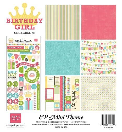Echo Park Papel cumpleaños niña Mini Tema colección Kit ...