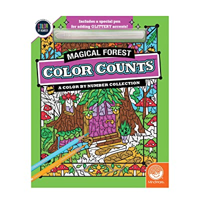MindWare Color-by-Number Color Counts Glitter: Magical Forest - Activity Coloring Book for Kids, Teens & Adults - Stress-Free with 22 Beautiful Pages - Relaxing Quiet time Book for Boys & Girls: Toys & Games