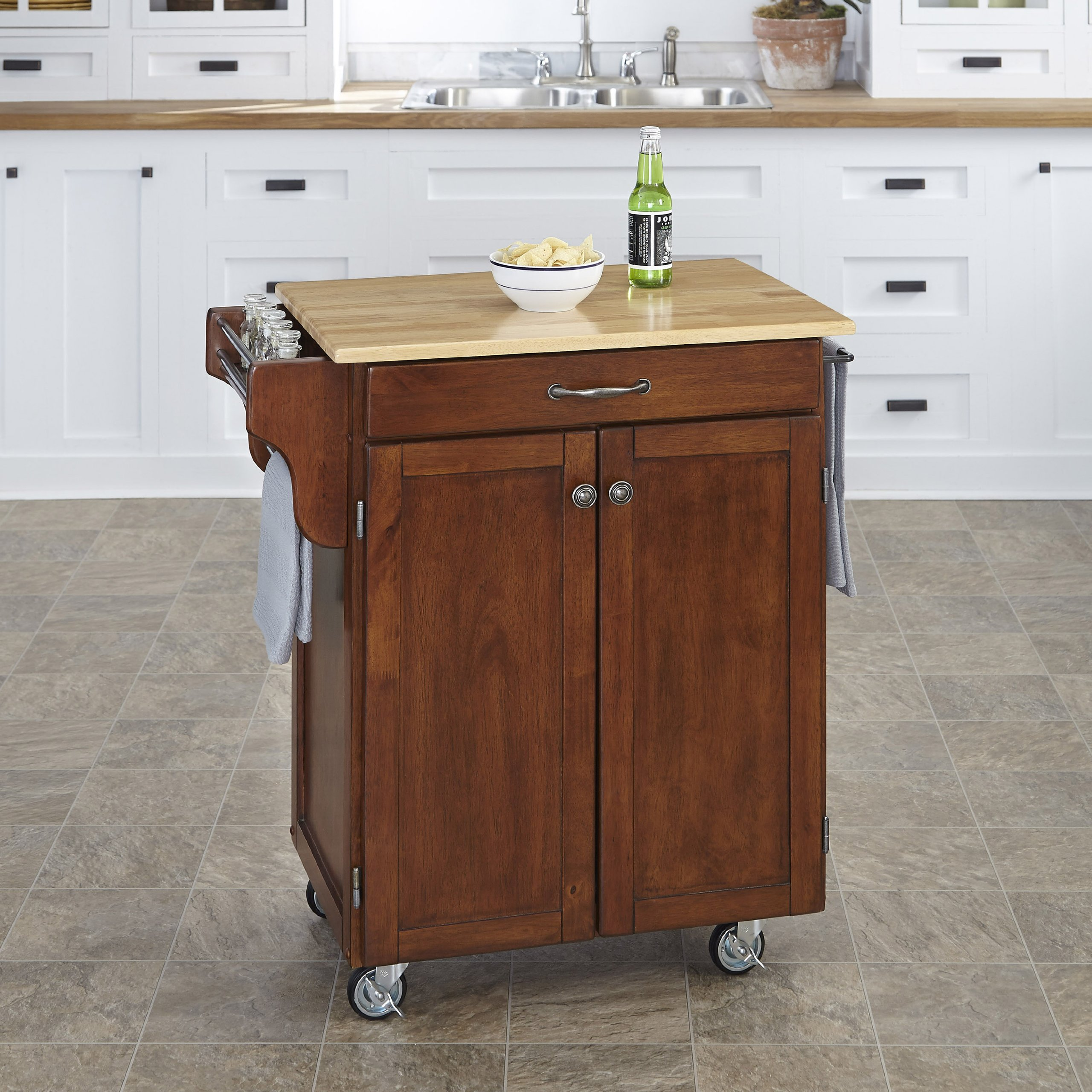 Home Styles 9001-0071 Create-a-Cart 9001 Series Cuisine Cart with Natural Wood Top, Cherry, 32-1/2-Inch by Home Styles (Image #2)