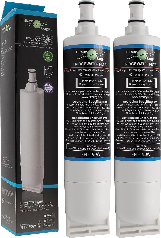 FilterLogic FFL-190W   Filtre à eau compatible avec Whirlpool SBS200, 484000008726 - SBS002, 481281729632 - SBS001, 481281728986 - USC009/1 Cartouche filtrante réfrigérateur frigo américain (Lot de 2)