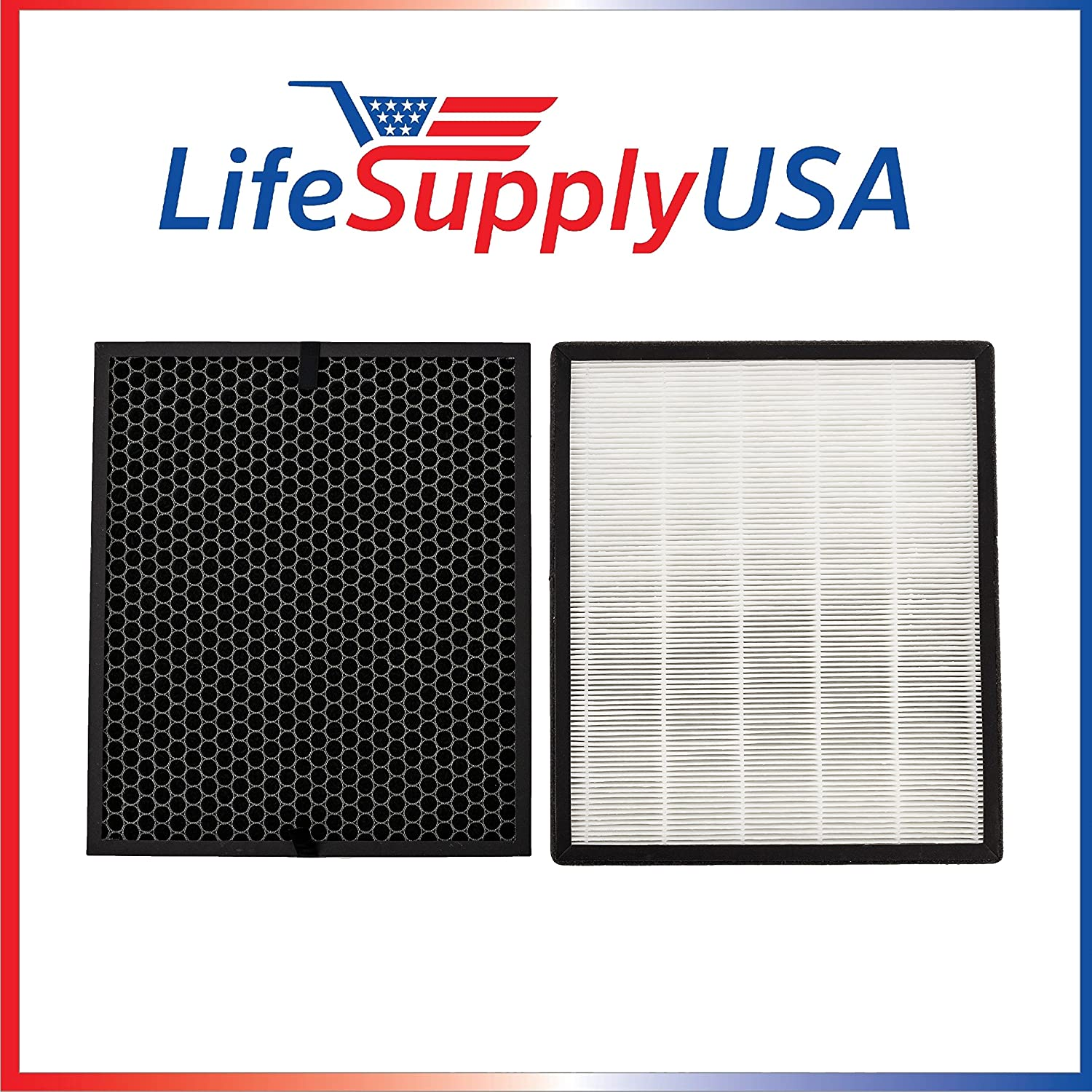 LifeSupplyUSA 10 Replacement Filter Sets Compatible with Levoit Air Purifier LV-PUR131, LV-PUR131-RF True HEPA & Activated Carbon Filters Set (10)