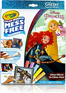 Crayola 75-2445 Color Wonder Disney Princess Glitter Coloring Pages & Markers Set Art Gift for Kids & Toddlers 3 & Up