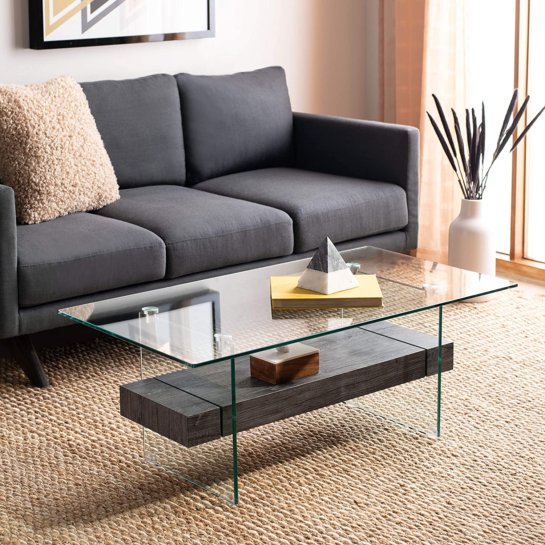 Safavieh Home Kayley Black Oak and Glass Coffee Table