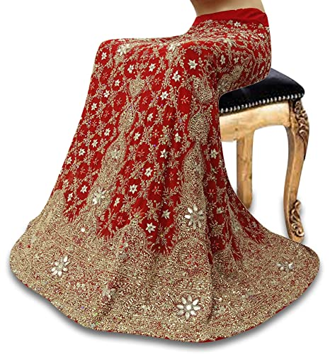 Vintage Lehanga Georgette India vestido de novia étnica falda ...