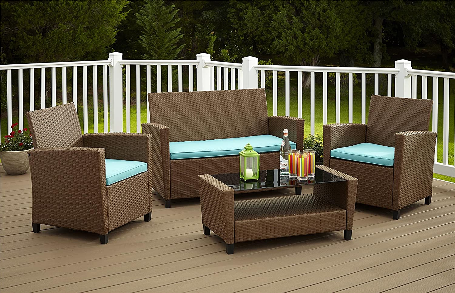 amazoncom cosco products 4 piece malmo resin wicker patio set brown with teal cushions kitchen u0026 dining - Cheap Patio Sets