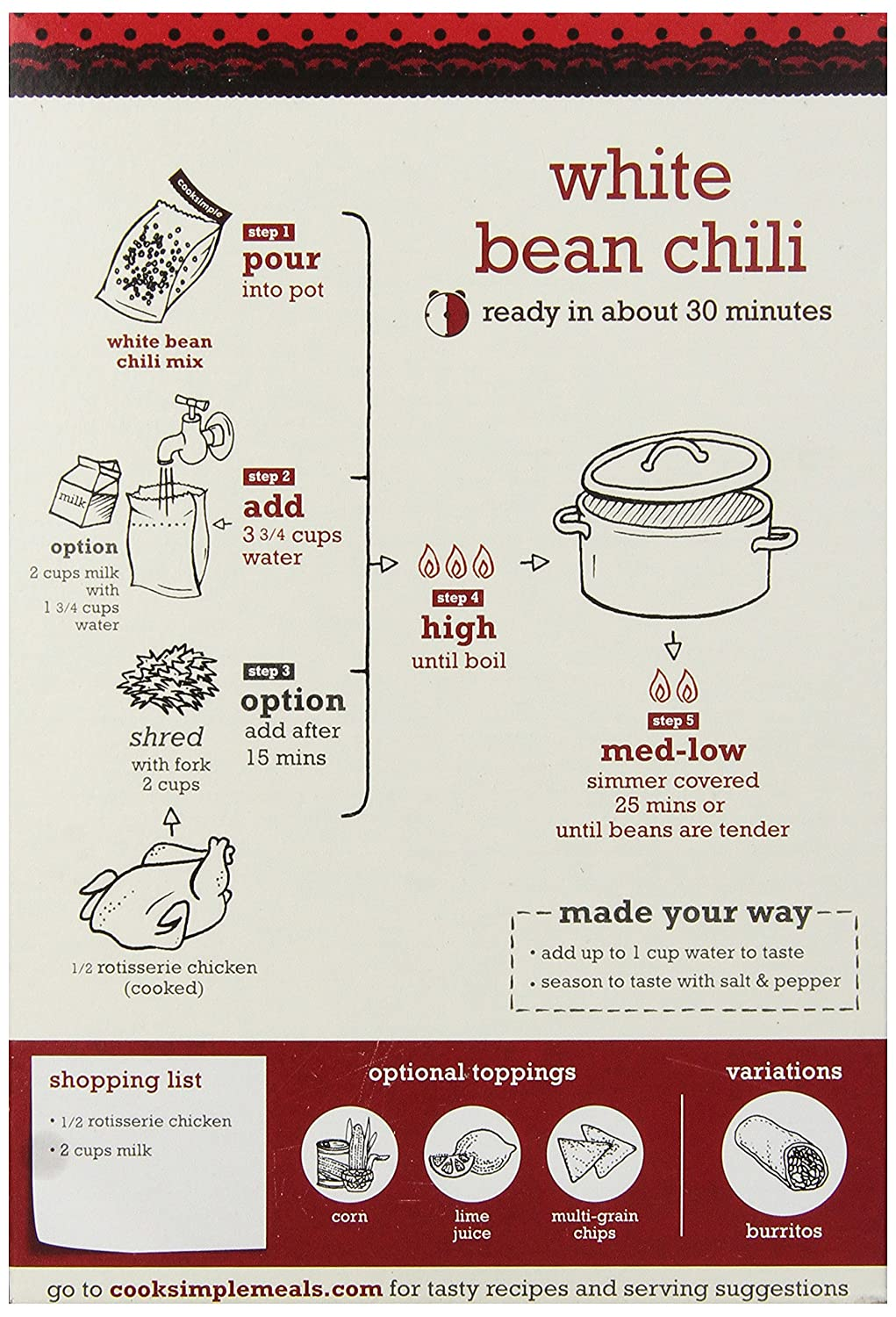 cooksimple All Natural Mix Santa Fe Blanco Bean Chili con ...