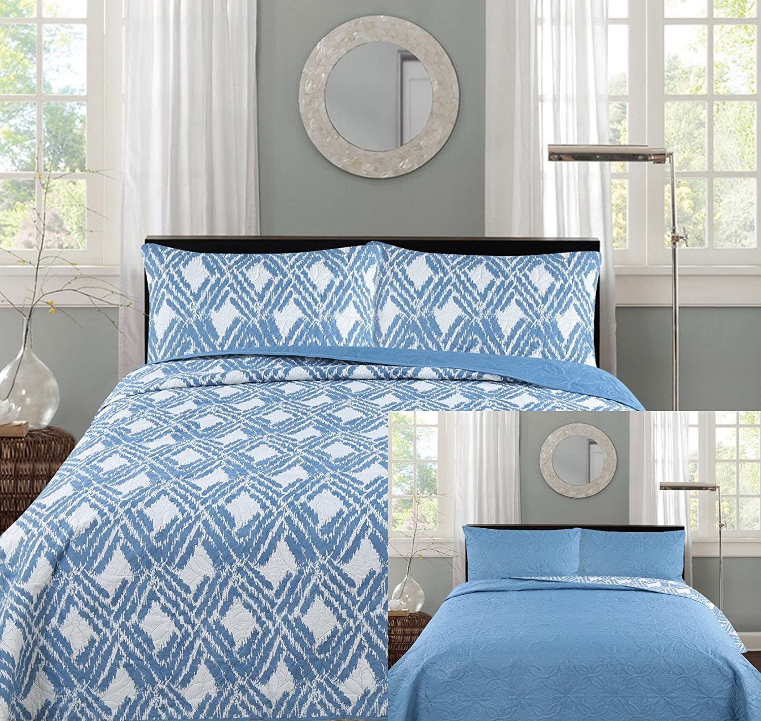 all american collection comforters with more – ease bedding with style - reversible modern floral bedspread coverlet (king