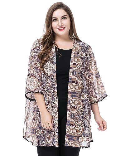 Chicwe Mujeres Tallas Grandes Gasa Kimono Kaftan con Recortar Cuff & Dobladillo EU44-64