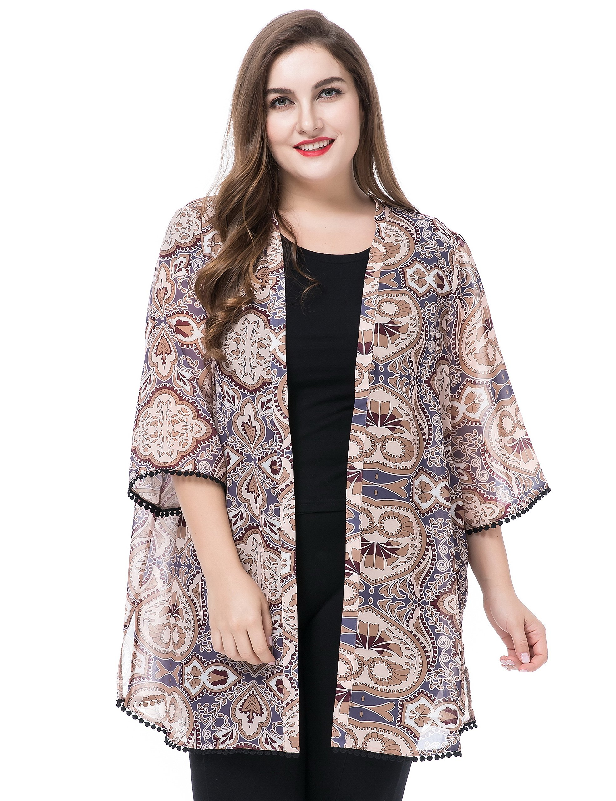 Chicwe Women's Plus Size Floral Printed Chiffon Summer Cover up with Trim Cuff & Hem- Kimono Kaftan Style Open Front Multi Stone 16 by Chicwe
