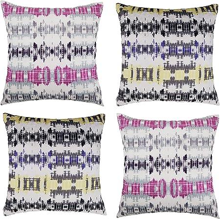 ForenTex Pack 4 Fundas de Cojín Estampados Coloridas, Morado/Rosa, 45x45 cm, 4: Amazon.es: Hogar