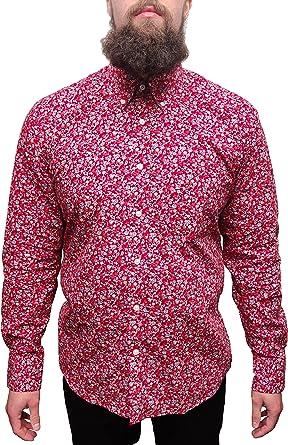 Camiseta floral hombres de rojo color blanco azul Classic Mod Vintage diseño
