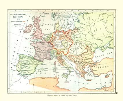 Amazon.com: Old Europe Map - Europe in 1815 - Gardiner 1902 - 28.12 ...