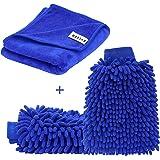 Kit de 2* Etanche Gant de Chenille pour Lavage de Voiture et 1*Chiffon de Nettoyage en Microfibre