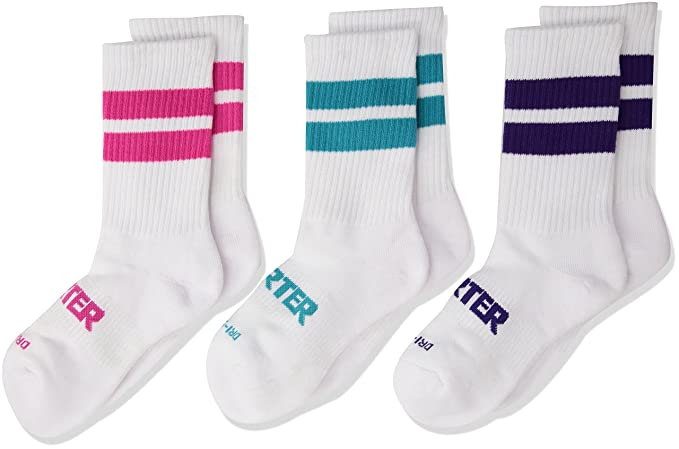275746174fc31 Amazon.com: Starter Girls' 3-Pack Mid-Calf Striped Crew Socks, Amazon  Exclusive, White, Small (Shoe Size 9-3.5): Clothing