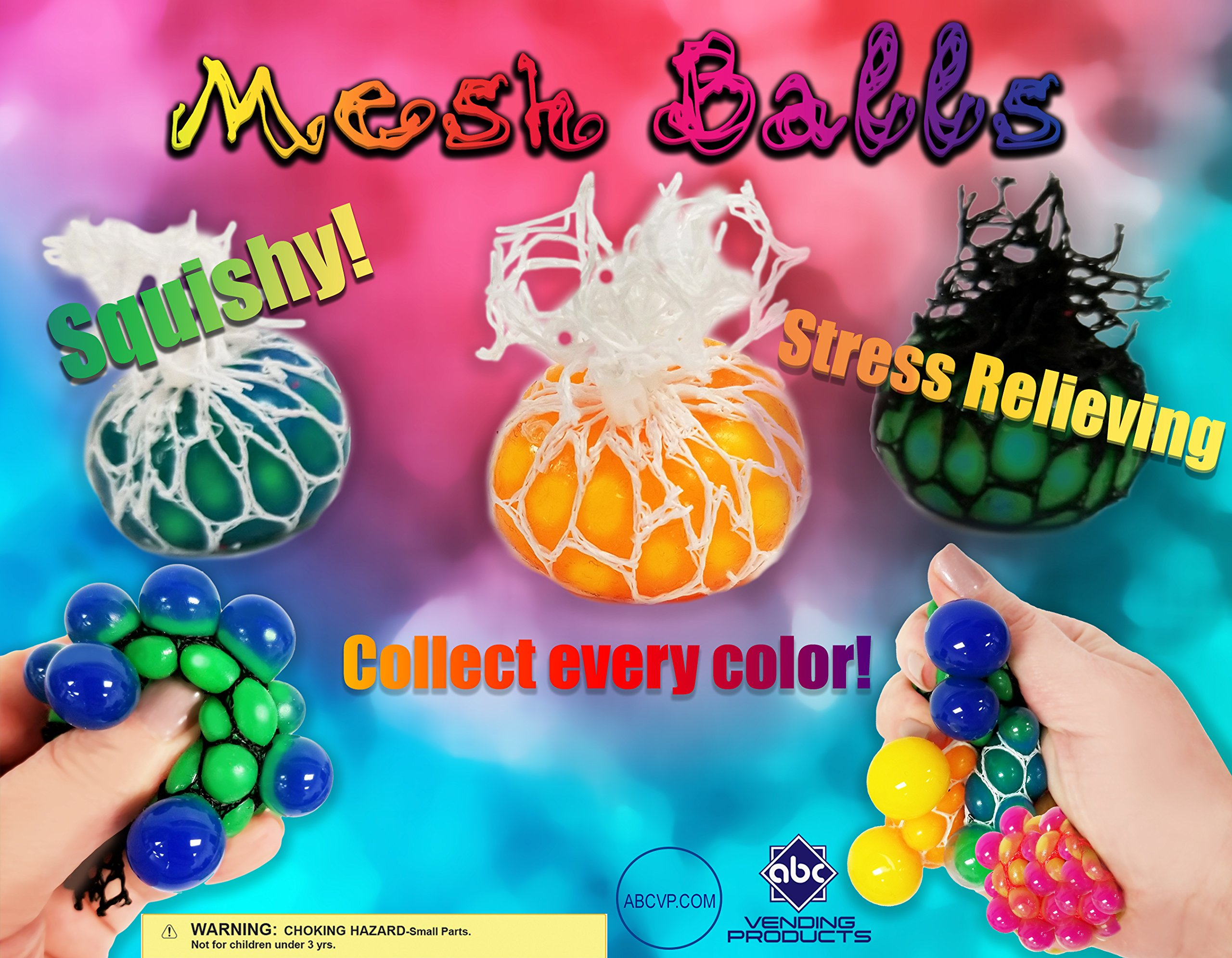 2'' Mesh Balls Squeezable Vending Toys in 250 Capsules - With Free DISPLAY by FCV (Image #1)