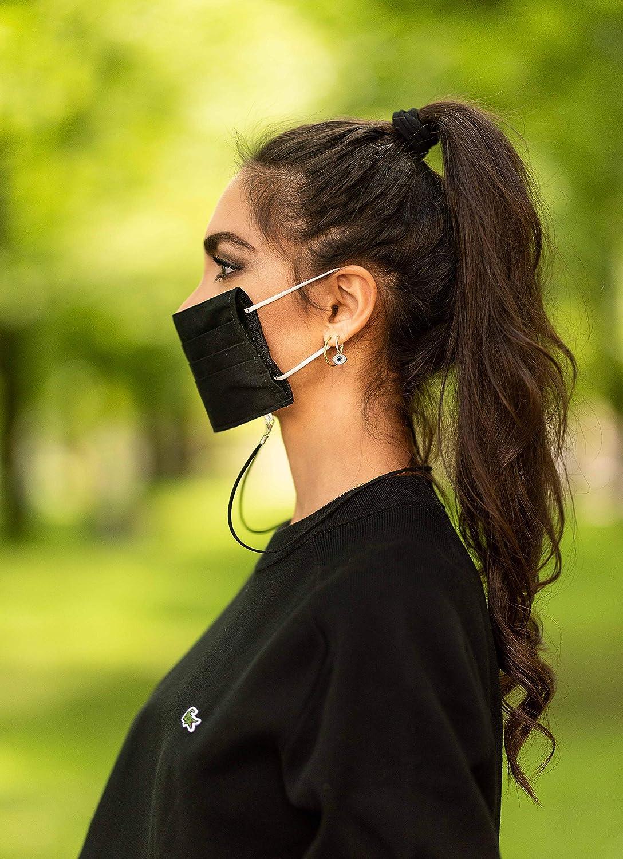 1x Schwarz und 1x Grau Green Exit 2er Pack Waschbarer Mund Nasen Mundschutz zum Umh/ängen aus Baumwolle