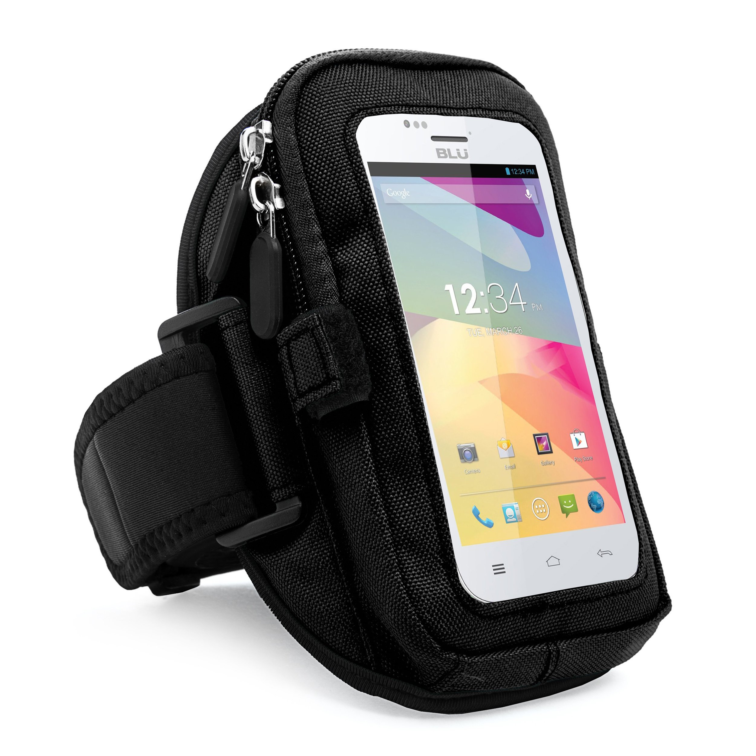 SumacLife VanGoddy zippered Sport Case Cover Gym Running with removable strap Armband with card & key slot for BLU Advance 4.0/Dash Music 4.0 D272a/Dash JR 4.0K Android 4.2/LG (Black)
