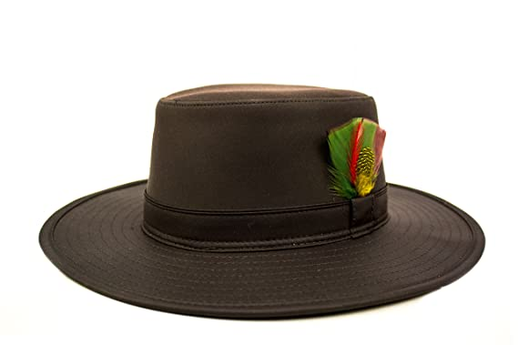 b334b3f52ac Fenside Country Clothing Australian Bushman Hat - Waxed Cotton with Feather  Detail Wide Brim - Waterproof