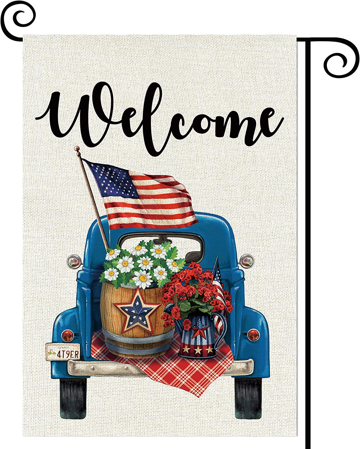 Balgardekor Welcome Patriotic Blue Truck Garden Flag Vertical Double Sided Burlap 4th of July Summer Yard Outdoor Decor Home Decor (12.5 x 18, US Flag)