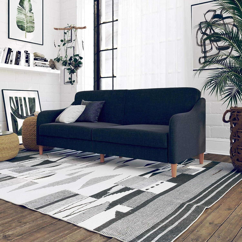 Sensational Dhp Jasper Linen Upholstered Coil Futon Multi Position Back Andrewgaddart Wooden Chair Designs For Living Room Andrewgaddartcom