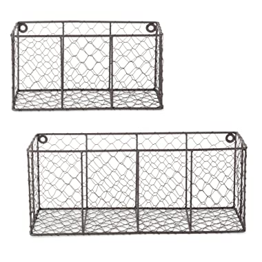 DII Farmhouse Vintage Chicken Wire Wall Basket, Set of 2 Assorted, Rustic Bronze