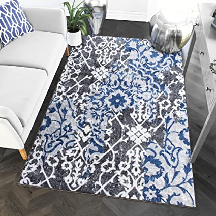 Amazon 5 X 7 Area Rug Gray Blue Tribal Ikat For Living