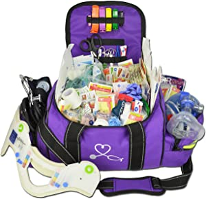 Lightning X Deluxe Stocked Large EMT First Aid Trauma Bag Fill Kit w/Emergency Medical Supplies (Purple)