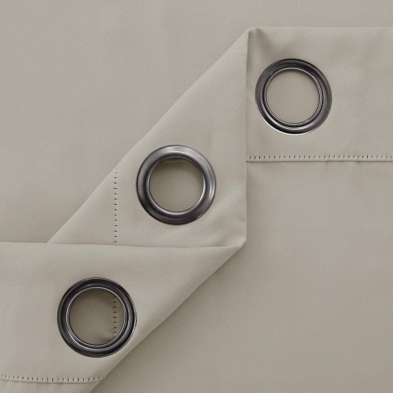Deconovo Tenda Oscurante Termica Isolante con Occhielli per Porta Finestre Moderne 254x242cm Beige Chiaro Un Pannello