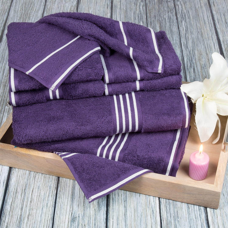 Lavish Home Rio 8 Piece 100% Cotton Towel Set - Eggplant
