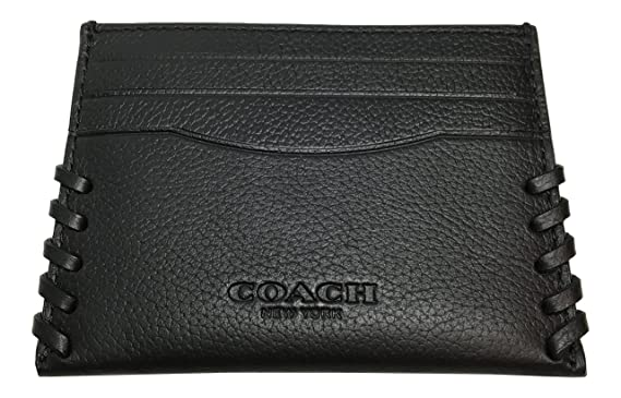 8c292366 Coach Slim Card Case Baseball Stitch F22370 Black