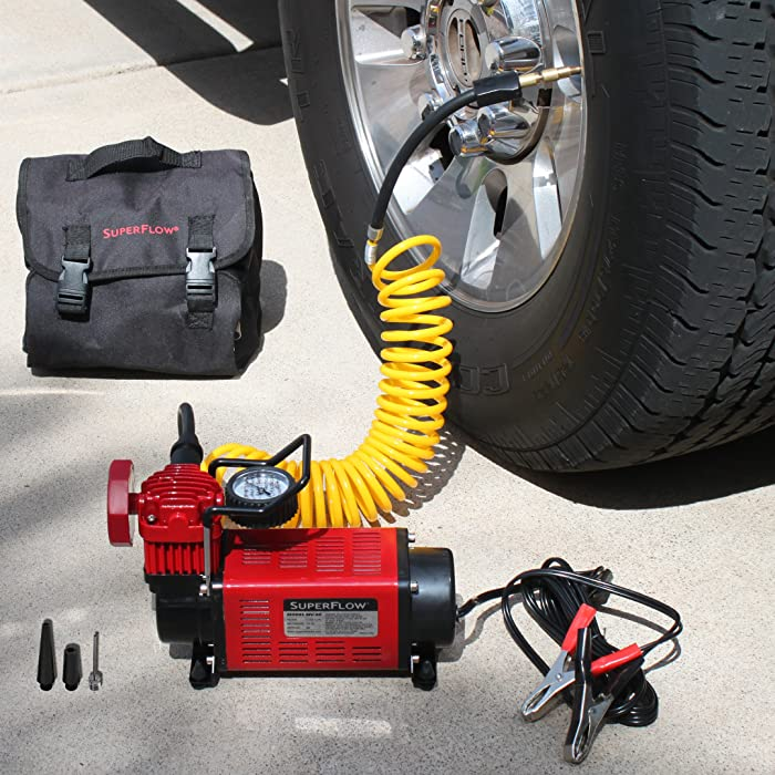 the highly rated 12v air compressor MV50 superflow is exactly what you need.