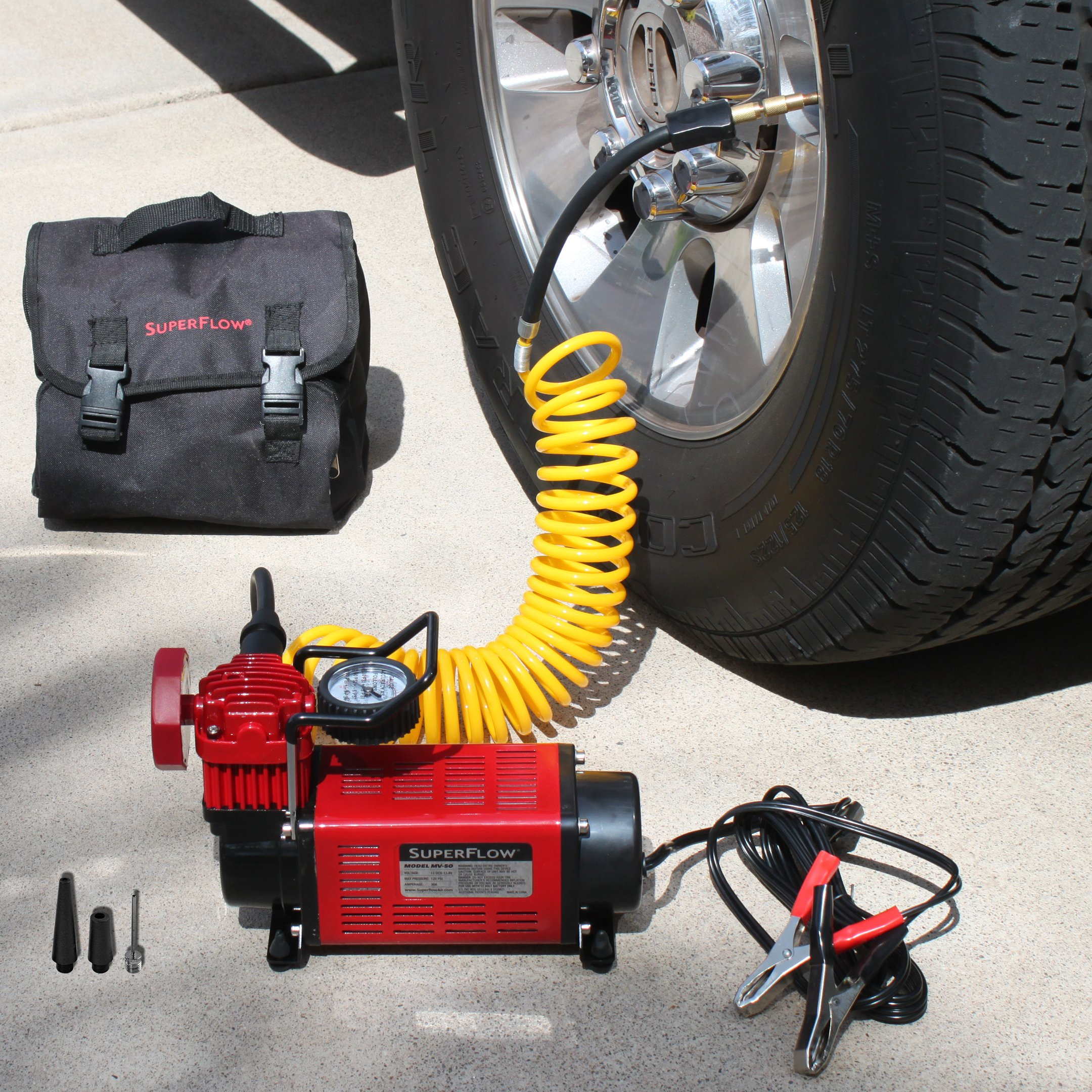Q Industries 12 Volt Air Compressor, Portable Air Pump, 12 volt, Tire Inflator, MV-50 Air Compressor by SuperFlow for inflating full size 4 x 4, Jeep, truck, SUV and RV Tires by Q Industries (Image #2)