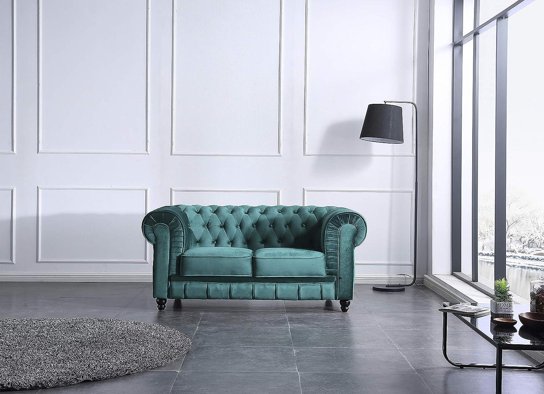 SuenosZzz - Sofa clásico Modelo Chester Color Blanco. Sofa Vintage (1 Plaza), tapizado en Piel Sintetica, Botones en Respaldo y reposabrazos | Sofas ...