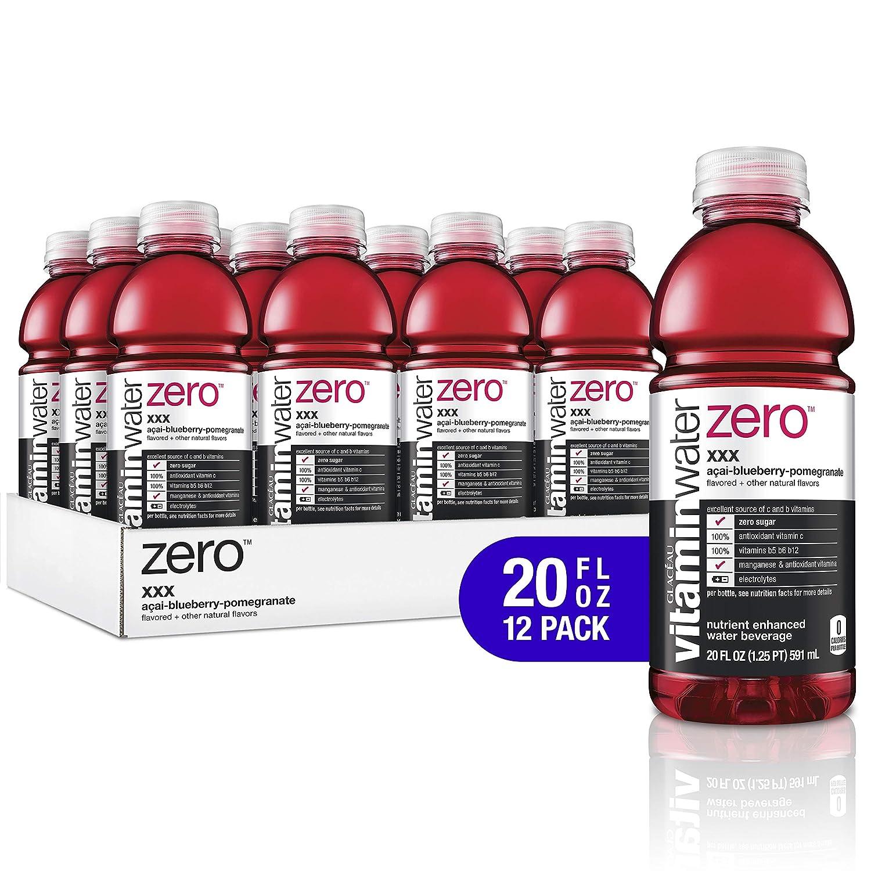 vitaminwater electrolyte enhanced water w/ vitamins, zero xxx acai-blueberry-pomegranate, 20 fl. oz (Pack of 12)