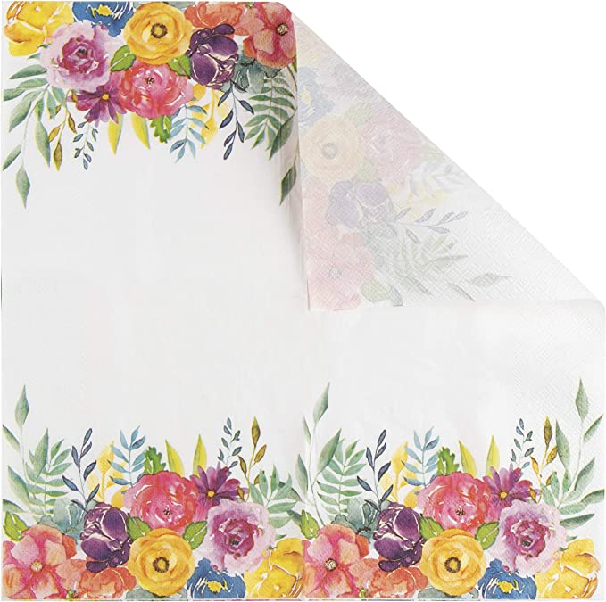 4 Single Paper Table Napkins for Decoupage Tulip Art Yellow Flowers
