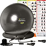 Exercise Ball Chair - 55cm / 65cm / 75cm Yoga Fitness Pilates Ball & Stability Base for Home Gym & Office - Resistance…