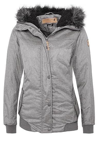 Eight2Nine Damen Winterjacke im Streetstyle | Warme Jacke mit Kapuze in Blau & Grau